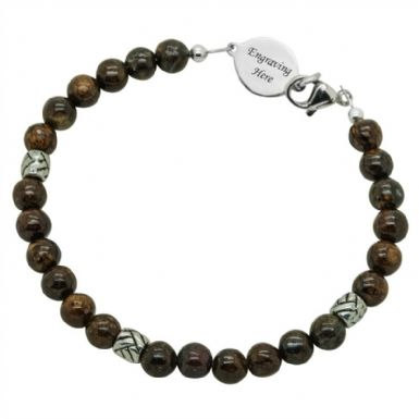 Mans Bronzite Memorial Bracelet with Engraving | Someone Remembered